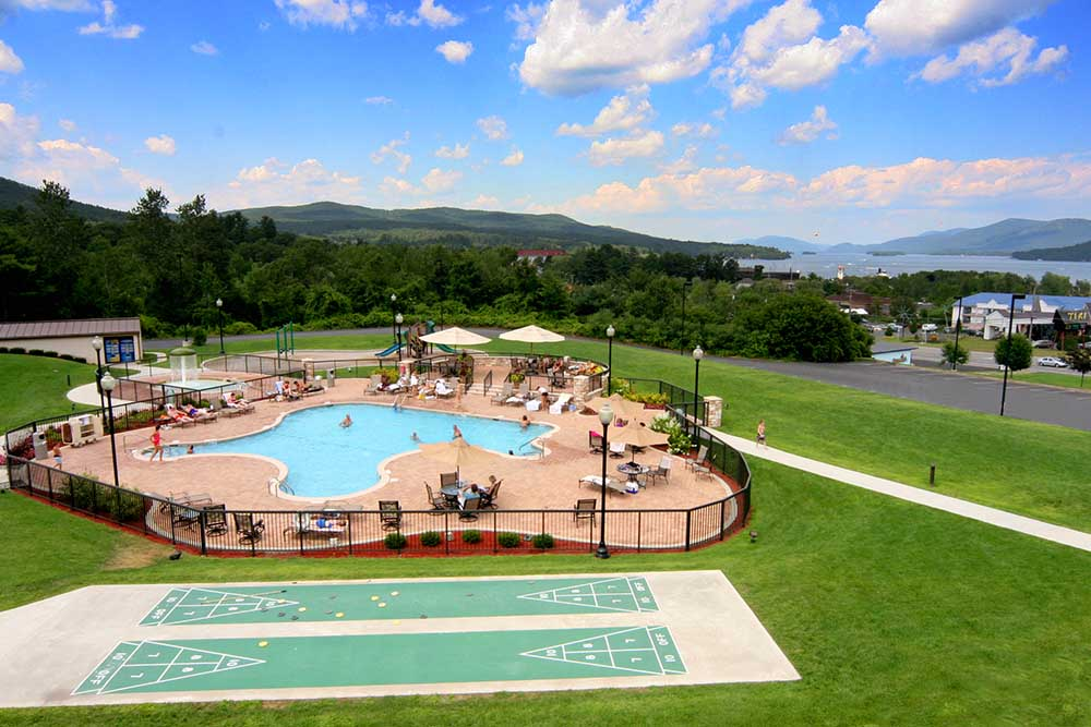 View of Pool over looking Lake George